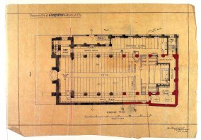 The church of St Augustine of Canterbury, the ground plan, as envisaged (c1887) by the architect J. D Sedding. (Source: Paul Bell, 2012).