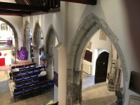 Nave, chancel, and south aisle, showing the south-porch entrance and baptistry, at St Mary's church Willsesden. ©Andrew Pink 2016