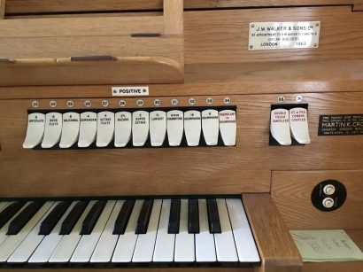 Detail of the organ by J. W. Walker and Sons (1963) in the church of St Joan of Arc, Highbury, London.