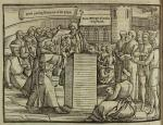 'Priests pulling Bilney out of the pulpit, Saint Georges churche in Ipswich', in John Foxe (1653) 'Actes and Monuments (Book of Martyrs)'.