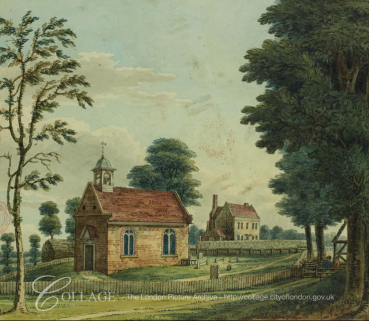 "View of St Mary and the Manor House at Twyford (c.1800) i ""Lysons' Environs of London""."