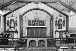 The interior c.1950 of the first church of St Joan of Arc in Kelross Road, London N5