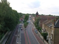 St Augustine of Canterbury church, Archway Road, seen from the Archway bridge, looking north, 2006.