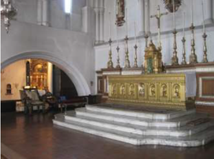 High altar in the church of St Augustine of Canterbury, Highgate, London (UK), by Adrian Gilbert Scott, and J. Linthout.