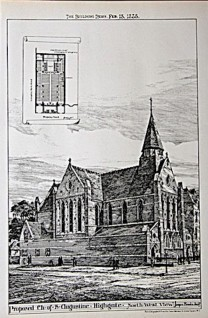 The church of St Augustine of Canterbry, Highgate, Lolndon. Unbuilt design proposal by James Brooks. (The Building News, 13 February 1888)