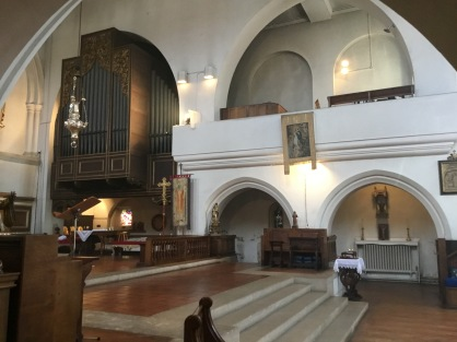 Musicians gallery with organ case by J. H. Gibbons in the church of St Augustine of Canterbury, Highgate, London N6. (Source: London Churches in Photographs)