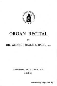 Programme for an organ-recital by George Thalben-Ball, St Augustine's church Highgate, London on 25 October 1975. [page1/3]