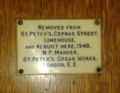 Old St Pancras Church, London Nw1. The organ; secondary builder's plate. Source: National Pipe Organ Register.