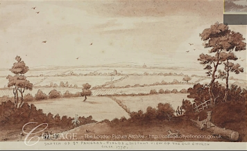 Anon (c.1775) 'Sketch of St Pancras fields and distant view of St Pancras Old Church.' Source: London Metropolitan Archive, ref. p5381780