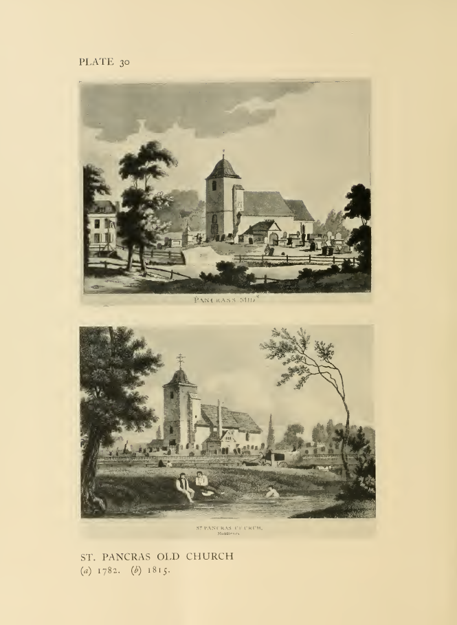 St Pancras Old Church, London NW1. The church as depicted in 1782 (above) and in 1815 (below). Source Survey of London.