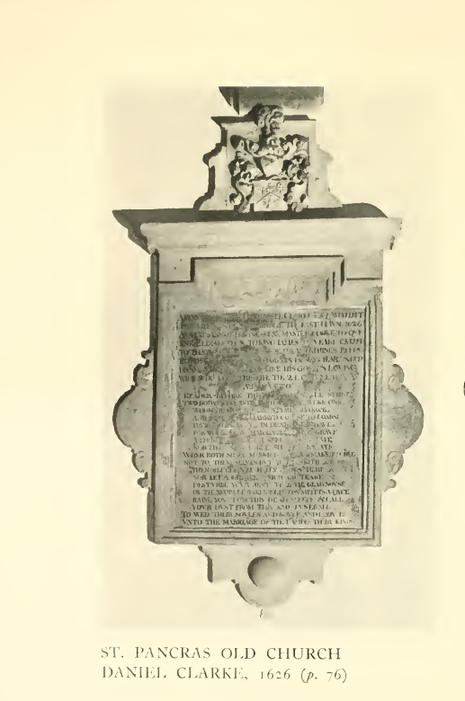 St Pancras Old Church, London NW1. Memorial to Daniell Clark (1547-1626) - cook to Queen Elizabeth 1 and to King James 1 - and his wife Katherine (d.1613). Source: Survey of London.