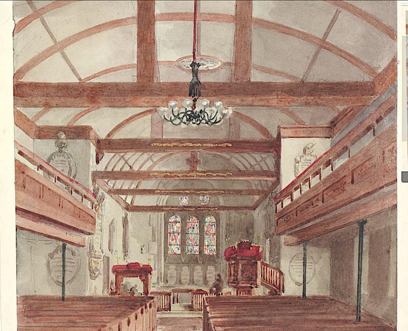 H.C. (1854) 'Interior view of St Pancras Old Church, St Pancras.' Source: London Mteropolitan Archive, ref. p5380390.