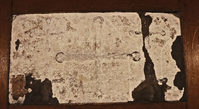 7th-centiry altar stone with five incised crosses, Old St Pancras Church, London NW1. Source: http://www.peter-sheppard-skaerved.com