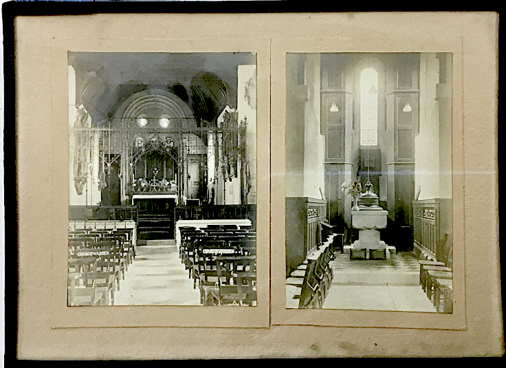 St Pancras Old Church, London NW1. Chancel and baptistry (south side) [11 December 1880?]. Image source: London Metropolitan Archive P90/PAN2/1-2.
