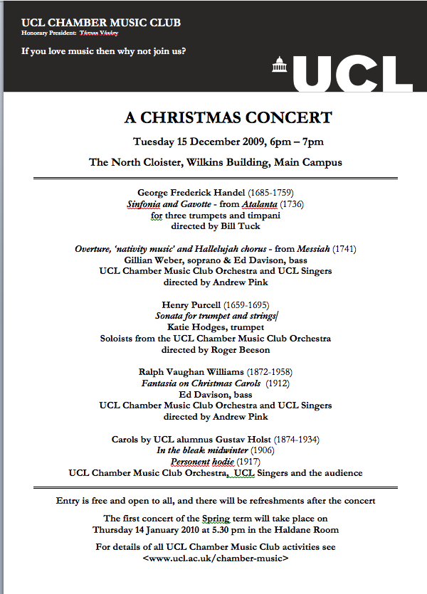 A concert poster for the UCL Chamber Music Club, 15 December 2009