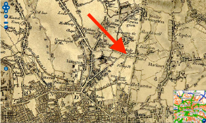 Balls Pond, north London, shown on Ordnance Survey First Series, Sheet 7 (1856)