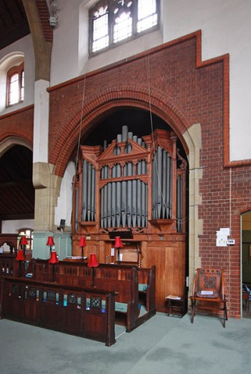 St Aldhelm's church London N18; the pipe organ (1905) by Frederick Halliday, London.