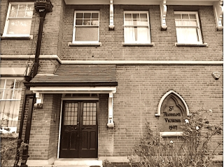 Detail of the Vicarage, St Aldhelm's church, London N18, (1903), by W. D. Caröe