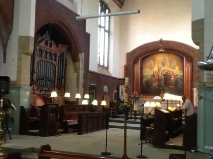 St Aldhelm's church, London N18, by W. D. Caröe (1903), the sanctuary.