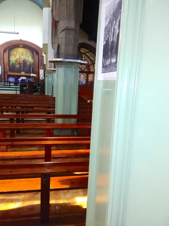 St Aldhelm's church, London N18 (W. D. Caroe, 1903), panelled aisle pillars, 2017.