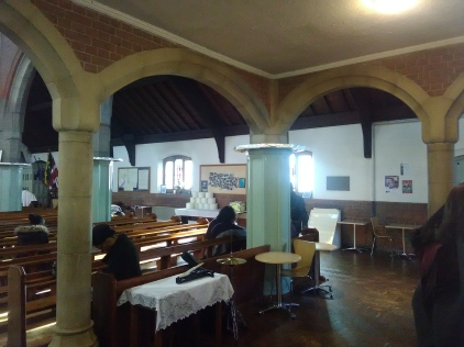 Under the west gallery of St Aldhem's church, London N18 (W. D. Caroe, 1903) in 2017.