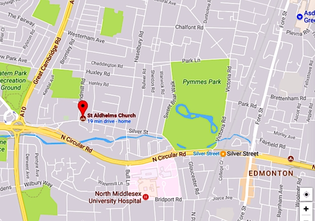 Location of St Aldhelm's church, Silver Street, London N18