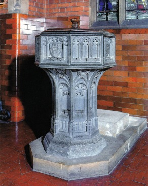 St Barnabas Walthamstow (1903) London E17, Purbeck-stone font, unknown maker. (Source: Litten, 2003)
