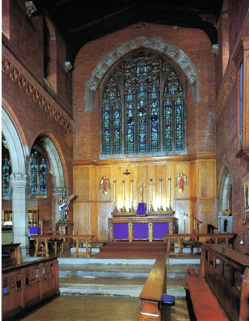 St Barnabas Walthamstow (1903) London E17, main sanctuary, containing work by The Society for the Advancement of Ecclesiastical Embrodiery (1903), Alex Miller of the Guild of Handicraft (1910); A. W. N. Pugin (c.1845), and Dart & Francis (1903). . Source: Litten, 2003,