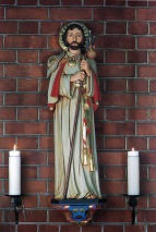 St Barnabas Walthamstow (1903) London E17, painted stature of St Barnabas (1946) by Faith-Craft Works. (Source: Litten, 2003)