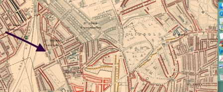 The church of St Thomas Finsbury Park, shown on the Charles Booth 'Poverty Maps' (1898-99). [Source: https://booth.lse.ac.uk]