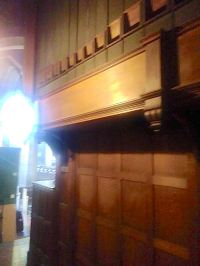 Organ case - rear, looking east - of the organ built by Walter J. Fisher, Oxford, 1904 for the church of St Barnabas, Walthamstow, London