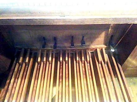 Pedal board of the organ built by Walter J. Fisher, Oxford, 1904, for the church of St Barnabas, Walthamstow, London