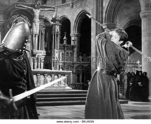 Scene from the film 'Becket' (1964) showing the crucifix now in St Benet's church, Kentish Town, London UK. [Source: alamy.com, stock imager]