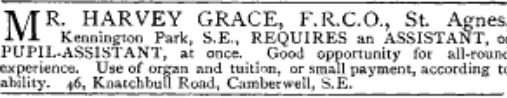 St Agnes Kenning London. Recruitment advert for an assistant organist. '[Source: Musical Times'Advert 54/848 (1913) 685]