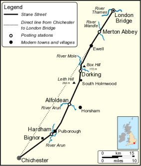 The route of Stane Street