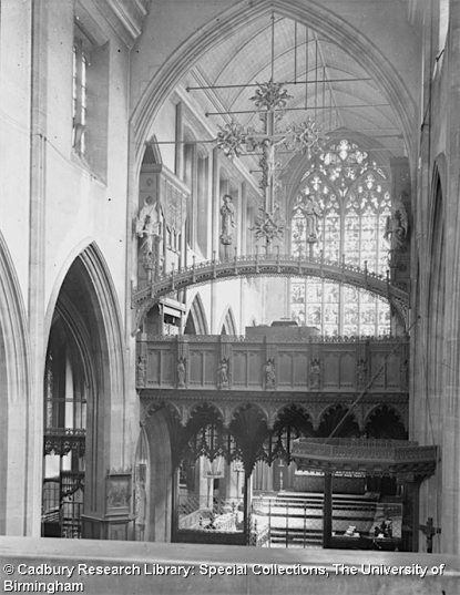 St Agnes Kennington, chancel screen (1885-9) by T. L. Moore, looking north-east c.1921. [Source: University of Birmingham Special collections Freeman/453]