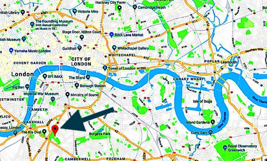The location of St Agnes Kennington, London UK