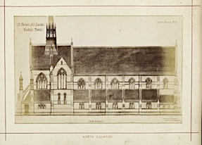 St Benet and All Saints church, Kentish Town, London; north elevation (1877). Drawing by Joseph Peacock. [Source: RIBA ref. RIBA94818]