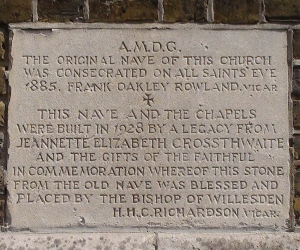 St Benet and All Saints church, Kentish Town, London; nave-dedication plaque, stone, c1928. [Source: londonremembers.com]