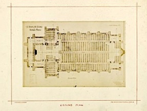 St Benet and All Saints church, Kentish Town, London; ground plan (1877). Drawing by Joseph Peacock. [Source: RIBA ref. RIBA94818]