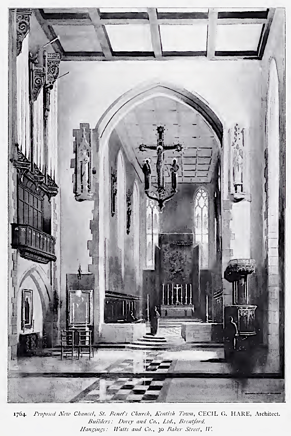 """Proposed New Chancel,. St. Benet's Church, Kentsh Town, CECIL G. HARE, Architect. Builder: Dorey and Co., Ltd., Brentford. Hangings: Watts and Co., 30 Baker street, W."" [Source: Academy Architecture and Architectural Review. Vol. 33 (1908), 13.]"