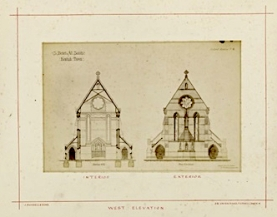 St Benet and All Saints church, Kentish Town, London; west elevation and cross section (1877). Drawing by Joseph Peacock. [Source: RIBA ref. RIBA94819]