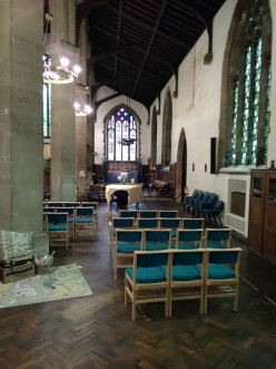 St Barnabas Southfields (London UK). The north aisle, looking east. [Source: Andrew Pink © 2019]