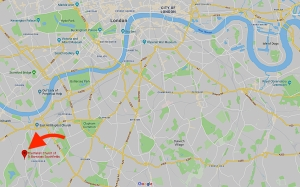 The location of the church of St Barnabas Southfields, London UK