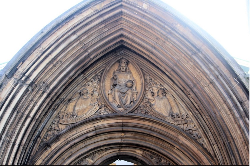 St Mary Newington, London, detail above the old west door seen from Kennington Park Road c.2000