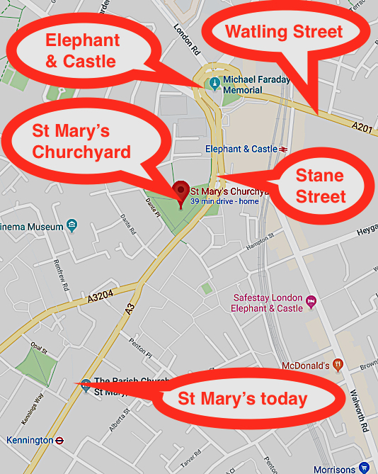 Close-uo detail of the previous and the present-day (2019) location of St Mary Newington church, indicating the locations of the adjacent Roman 'streets'.