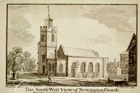 'South west view of Newington Church' (1750) after a painting by J-B. C. Chatelain (1710?-71?). [Source: https://collage.cityoflondon.gov.uk]