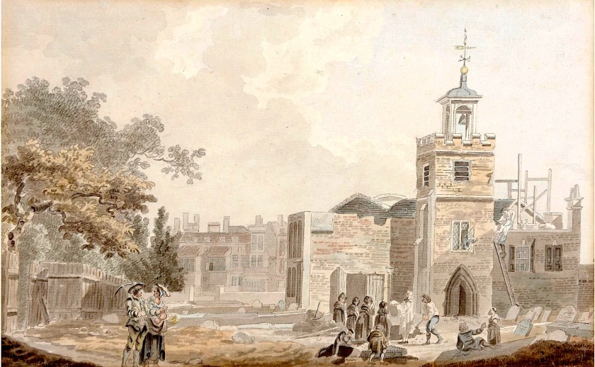 The old church being taken down. 'The Church of St. Mary, Newington, London' (n.d.). Watercolour by James Miller (fl.1773-91) [Source: Guy Peppiatt Fine Art]