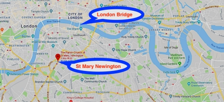 The present-day (2019) location of St Mary Newington church, London.