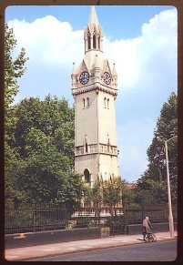 The clocktower in St Mary's churchyard, Newington Butts, London. [Source: Charles W. Cushman http://webapp1.dlib.indiana.edu/cushman/ with permission]
